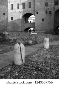 Ferrara, Italy. Este castle, detail. Black and white photo.