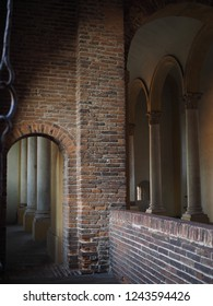 Ferrara, Italy. Este Castle, detail. Entrance.