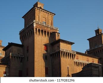 Ferrara, Italy. Este castle at sunset.