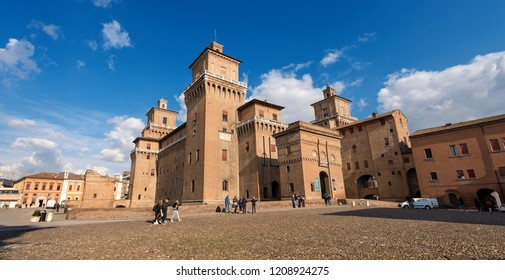 FERRARA, ITALY, FEB 14, 2018: Estense Castle or Castle of San Michele (1385) is a moated medieval castle in the center of Ferrara, Emilia-Romagna, northern Italy.