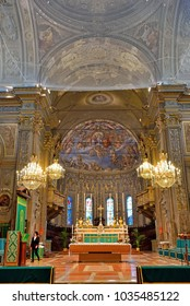 FERRARA, ITALY - FEBRUARY 11  - interior of the cathedral of San Giorgio Martire is the main place of Catholic worship- February 11 2018 Ferrara Italy