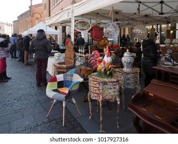 Ferrara, Italy - February 4, 2018. Flea market in piazza Trento e Trieste, the main square of the city.