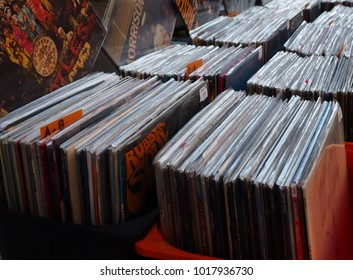 Ferrara, Italy - February 4, 2018.  Flea market. Old records for sale.
