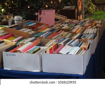 Ferrara, Italy - February 4, 2018. Flea market, stall sells used books.