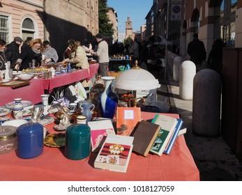 Ferrara, Italy - February 4, 2018. Flea market in Corso Porta Reno, historic centre of the city.