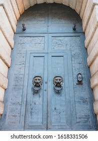 Ferrara, Italy - January 11, 2020. Door of Palazzo Contughi Gulinelli. The palace was built in 1542 by the will of the notable Girolamo Mario Contughi.