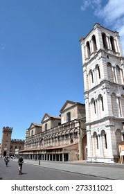 FERRARA, ITALY - JULY 20: Main square with romanesque cathedral on July 20, 2011 in Ferrara, Italy. The church is dedicated to Saint George and the construction finished on 1147.