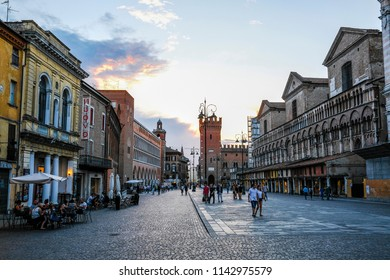Ferrara, Italy - July, 23, 2018: street in the historical center of Ferrara at a night