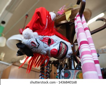 Ferrara, Italy - June 17, 2019. Flea market. Bad clown mask.