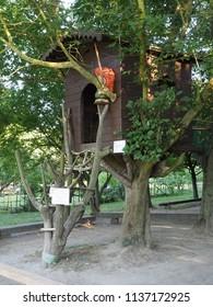 Ferrara, Italy - June 20, 2018. Tree house, game for children.
