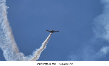 Ferrara Italy JUNE, 27, 2021 Aerobatic airplane in flight in the blue sky. Corby CJ-1 Starlet single seat, amateur built airplane of the 1960s