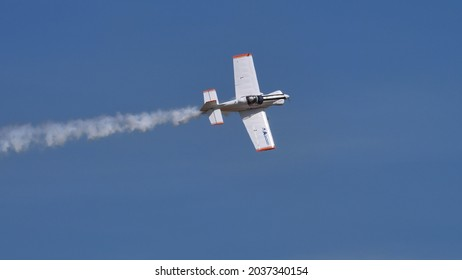 Ferrara Italy JUNE, 27, 2021 Plan profile of a small propeller aerobatic plane in the perfectly blue sky. Corby CJ-1 Starlet single seat, amateur built airplane of the 1960s