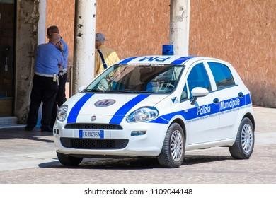 Ferrara, Italy - June, 9, 2018: police on piazza della Cattedrale, the central square of Ferrara, Italy