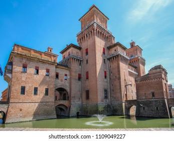 Ferrara, Italy - June, 9, 2018: Castle Estense in Ferrara