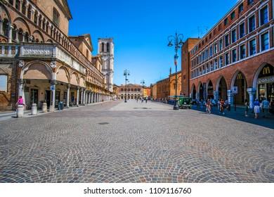 Ferrara, Italy - June, 9, 2018: Piazza della Cattedrale, the central square of Ferrara, Italy