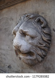 Ferrara, Italy. Leon, decoration on the wall of a Renaissance house in the historic center.