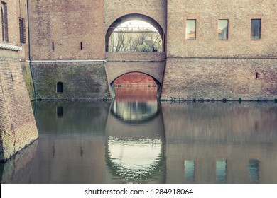 FERRARA, ITALY - MARCH, 2013: bridge of The Castello Estense - moated medieval castle in the center of Ferrara, northern Italy.