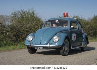 FERRARA / ITALY - MARCH 25, 2017: A vintage Volkswagen beetle during a meeting of Historic cars. This model was built in 1961.