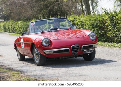 FERRARA / ITALY - MARCH 25, 2017: An italian classic car, ALFA ROMEO GIULIA SPIDER JUNIOR 1300 (Duetto) during a meeting of historic cars. This model was built in 1968.