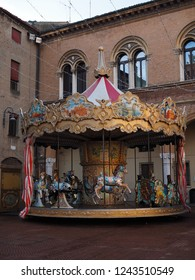 Ferrara, Italy - November 26, 2018. Piazza Municipale, the old horse carousel.