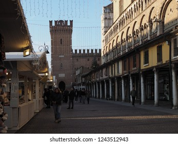 Ferrara, Italy - November 26, 2018. Christmas market in the main square.