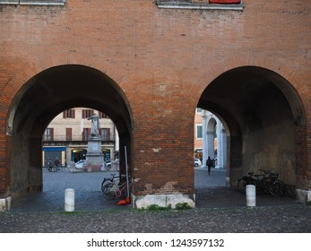 Ferrara, Italy - November 26, 2018.  Entrance to Piazza Savonarola, next to the castle.