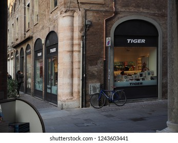 Ferrara, Italy - November 26, 2018. Historic centre, shop and bike.