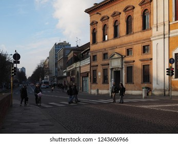 Ferrara, Italy - November 26, 2018. The main street, pedestrian crossing near the castle.