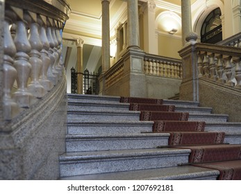 Ferrara, Italy - October 13, 2018. Palazzo Barbantini-Koch, building dated 1910.  Monumental staircase.