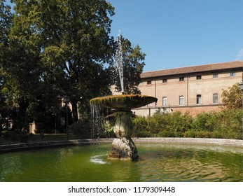 Ferrara, Italy. Parco Massari, the main public park of the town. The fountain in the middle of the park.