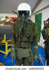 Ferrara, Italy - September 11, 2011. Balloons Festival, mannequin with uniform and fighter pilot helmet.