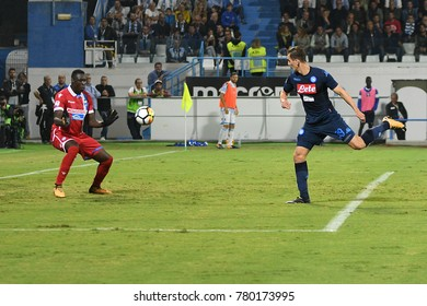 Ferrara Italy, September 23, 2017: Alfred Gomis of SPAL and Arkadiusz Milik of NAPOLI in action during football match serie A League 2017 between SPAL vs SSC NAPOLI at San Paolo Mazza Stadium.