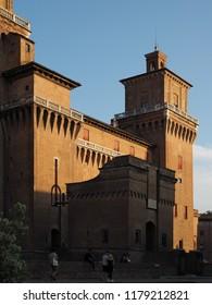 Ferrara, Italy - September 8, 2018. Este castle at sunset.