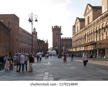 Ferrara, Italy - September 8, 2018. Piazza Trento e Trieste, Saturday afternoon of September, tourists on the main square.