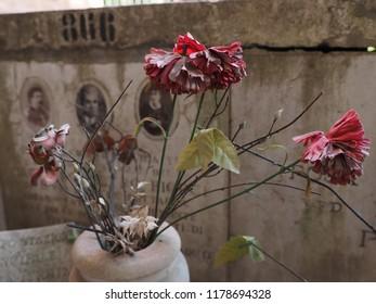Ferrara, Italy - September 9, 2018. Certosa monumental cemetery. Flowers in front of a headstone.