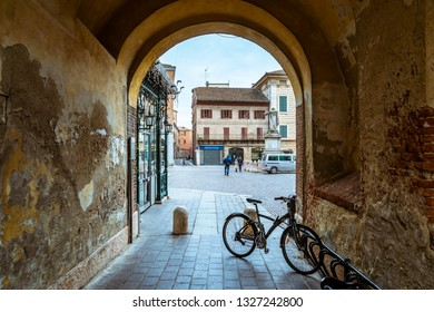 Ferrara/Italy -12.27.2018: The view on the street of Ferrara town in Italy. It's a town where Nicolaus Copernicus loved for a while.
