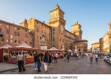 FERRARA,ITALY - SEPTEMBER 23,2018 - View at the Corso street of  Ferrara.Ferrara is a town and comune in Emilia-Romagna, northern Italy, capital of the Province of Ferrara.