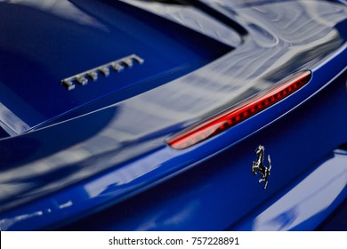 Ferrari 488 spider blue metallic blue color close up of rear view back tail light - Bangkok Thailand November 2017