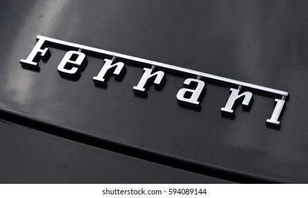 ferrari horse on a car in Amsterdam: letters ferrari on a car in Amsterdam