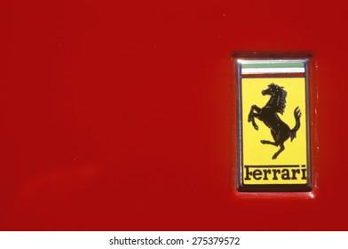 A Ferrari logo at the Ferrari Sports Car Festival in Beverly Hills, California