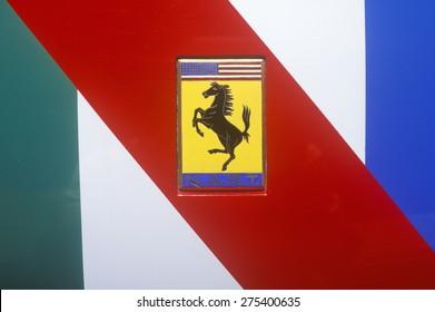 A Ferrari sports car logo in Beverly Hills, California