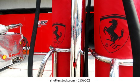 Ferrari's pit lane equipment during practice session in Malaysia