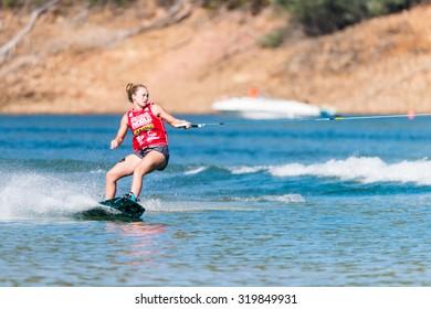 FERREIRA DO ZEZERE, PORTUGAL - SEPTEMBER 19, 2015: Meagan Ethell (USA) during the WWA Supra World Wakeboard Championship 2015 in Ferreira do Zezere, Portugal.