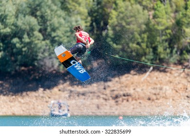 FERREIRA DO ZEZERE, PORTUGAL - SEPTEMBER 19, 2015: Nic Rapa (AUS) during the WWA Supra World Wakeboard Championship 2015 in Ferreira do Zezere, Portugal.