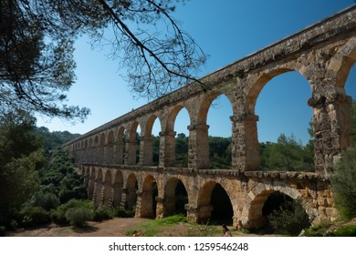 The Ferreres Aqueduct, also Pont del Diable (Devil's Bridge), an ancient bridge, part of the Roman aqueduct built to supply water to the ancient city of Tarraco, today Tarragona in Catalonia, Spain.