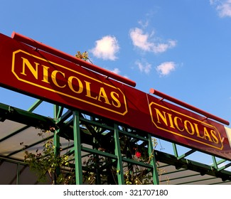 FERRIRES EN BRIE, FRANCE - SEPTEMBER 27, 2015: Logo of the brand Nicolas in Ferrières en Brie, France. Nicolas is a french brand of stores specializing in the sale of wine .