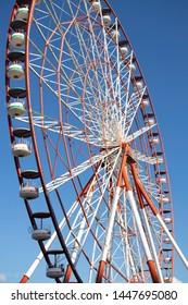 Ferris wheel against the sky. Monumental photo. Batumi Georgia.