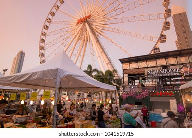 the Ferris Wheel of the Asiatique Riverfront Nightmarket in the city of Bangkok in Thailand.  Thailand, Bangkok, November, 2017