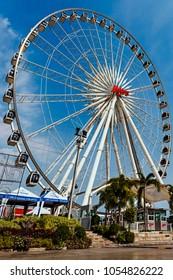 Ferris Wheel in bluesky at Asiatique riverfront Bangkok, Thailand taken on 7 January 2015