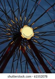 Ferris wheel closeup at dusk